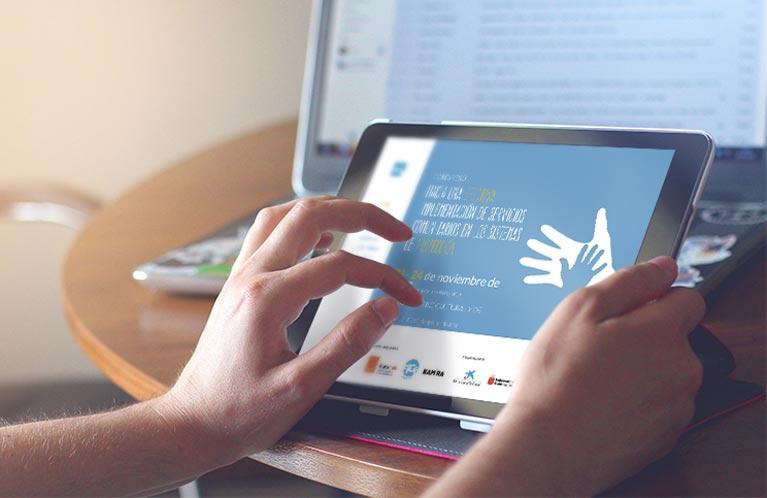 Fice España. Congreso Hacia una efectiva implementación de servicios comunitarios en los sistemas de proctección. Desarrollo web Calle Mayor Comunicación y Publicidad.